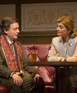 """Alan Cox and Gretchen Egolf in """"Betrayal,"""" continuing through Dec. 9 at the Huntington Theatre"""