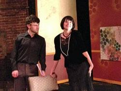 "Ryan MacPherson and Linda Goetz in the F.U.D.G.E. production of ""As Bees In Honey Drown"""