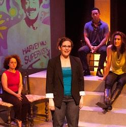"""David Bicha, Aaron Wimmer, Tierra Allen, Anna Smith, Brian Patterson, and Courtney Walsh play multiple characters in """"Dear Harvey,"""" a recounting of Harvey Milk's life, times, and legacy now at New Conservatory Theatre Center. Photo: Lois Tema"""
