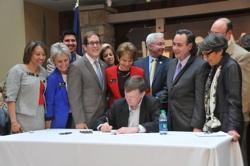 Gov. John Hickenlooper signing Colo civil unions bill into law March 21