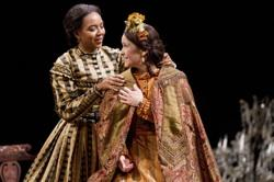 Sameerah Luqmaan-Harris as Elizabeth Keckly and Naomi Jacobson as Mary Todd Lincoln in Arena Stage at the Mead Center for American Theater's production of 'Mary T. & Lizzy K.'