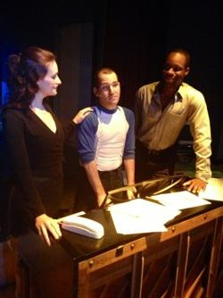 Sabrina Lynn Gore, Mike Westrich and Jerel Brown in Outre Theatre Company's tick,tick...BOOM!