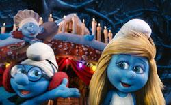 Hapy Smurf-day to you: A scene from 'The Smurfs 2'