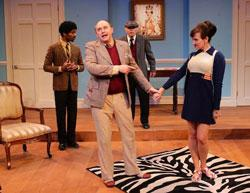 Davron S. Monroe, Neil A. Casey, John Davin, and Aimee Doherty in 'One Man, Two Guvnors' continuing through Oct. 12 at the Lyric Stage