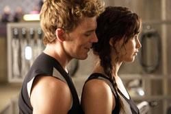 Jennifer Lawrence and Sam Claflin in a scene from 'The Hunger Games: Catching Fire'