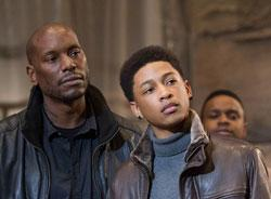 Tyrese Gibson and Jacob Latimore in a scene from 'Black Nativity'