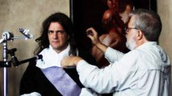 """This film image released by Sony Pictures Classics shows Tim Jenison, right, adjusting the wig of model Graham Toms in """"Tim's Vermeer."""""""
