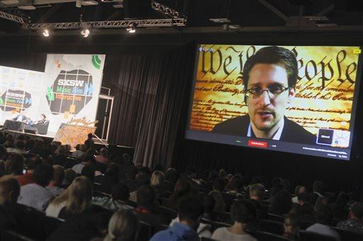 Edward Snowden talks during a simulcast conversation during the SXSW Interactive Festival.