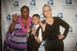 Yoruba Richen, Irma Salvatierra Bajar and Barbara Hammer with their Stonewall Honors 2014 awards
