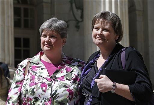 Plaintiffs challenging Oklahoma's gay marriage ban Sharon Baldwin, left, and her partner Mary Bishop.