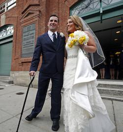 . Just over a year ago, Marc Fucarile lost his right leg - and nearly his left, too - in the Boston Marathon bombings.