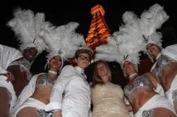 Showgirls outside the Eiffel Tower