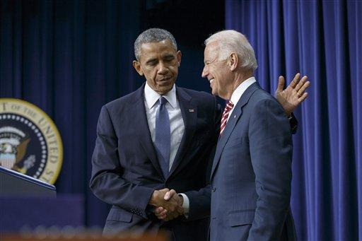 President Barack Obama embraces Vice President Joe Biden.