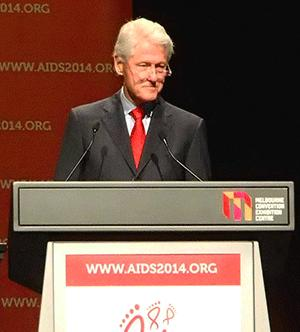 Bill Clinton addresses the International AIDS Conference.