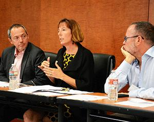 Sherilyn Adams, center, executive director of Larkin Street Youth Services, makes a point during a panel discussion on the myth of gay affluence. She was joined on the panel by Bevan Dufty, left, director of the city's Housing Opportunity, Partnerships and Engagement office, and Gary J. Gates, Ph.D., Williams Distinguished Scholar, the Williams Institute, UCLA School of Law.