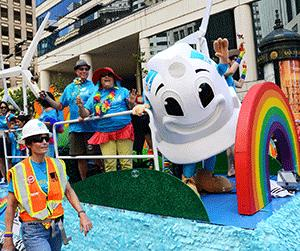 PG&E sponsored its first float in this year's LGBT Pride Parade; the utility company recently took first place honors in a competition run by Friendfactor.