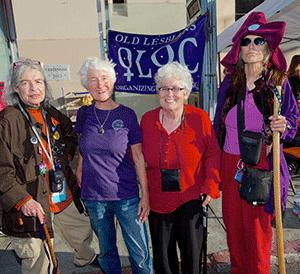 Old Lesbians Organizing for Change members Kaye Griffin, left, Chloe Karl, Christine Torno, and Ardys deLuxn promoted this weekend's conference at last month's Pride festivities