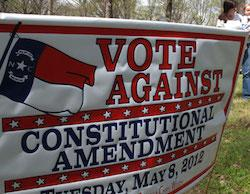 A 2012 lawn sign against NC's Amendment banning gay marriage