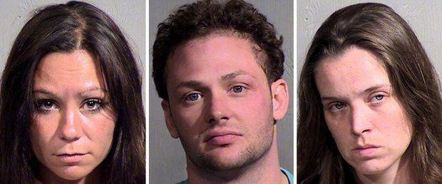 Gina Marie Rayner, left, Anthony Vechiola and Jennifer Duchnowski are seen in police photos after their arrests on charges of public sexual indecency in Peoria, Arizona.