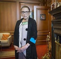 Associate Justice Ruth Bader Ginsburg in her Supreme Court chambers in Washington, Thursday, July 31, 2014. Ginsburg says the Supreme Court won't duck the issue of same-sex marriage the next time a case comes to the court.