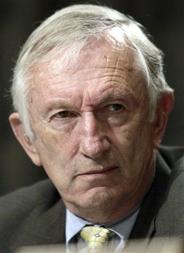 In this May 25, 2006, file photo, Sen. Jim Jeffords, I-Vt., attends a hearing at the Senate Committee on Homeland Security and Governmental Affairs on Capitol Hill in Washington.