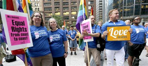 Supporters of gay marriage in Wisconsin and Indiana attend a rally at the federal plaza.