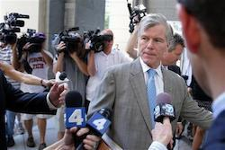 Former Virginia Gov. Bob McDonnell arrives at federal court in Richmond, Va., Thursday, Aug. 28, 2014. The prosecution in the McDonnell corruption case begins its rebuttal Thursday.