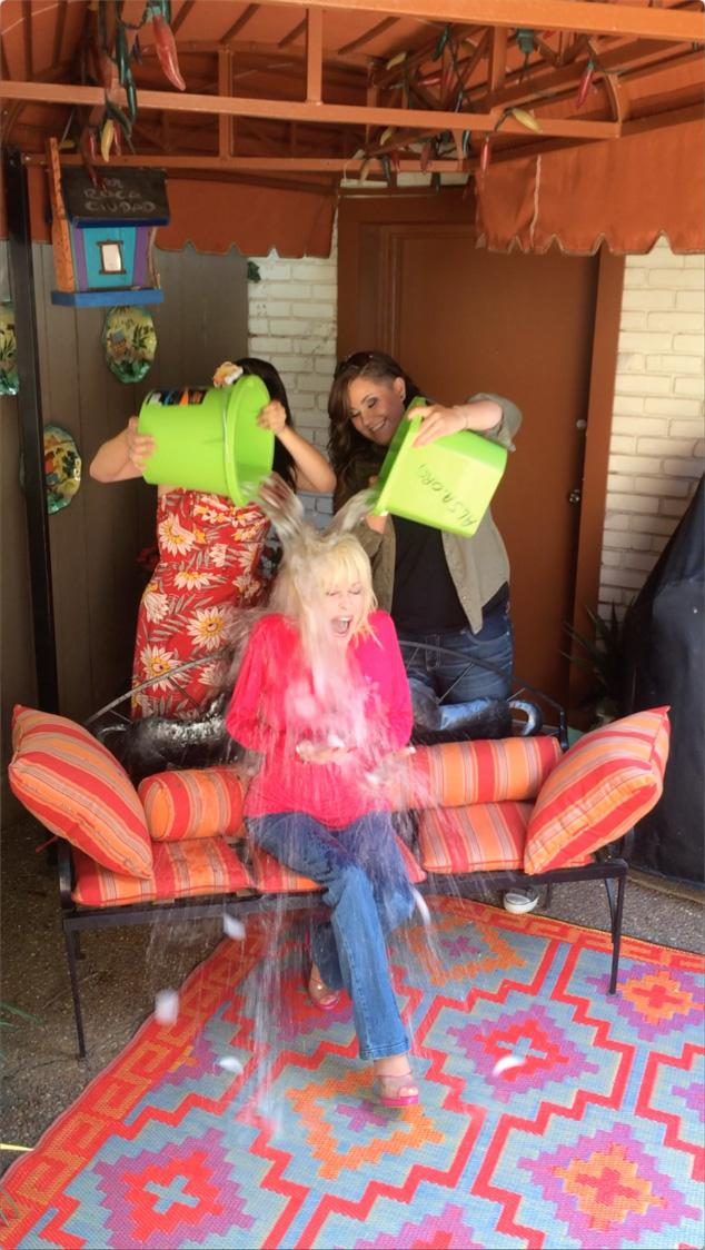 Dolly Parton accepts the ALS Ice Bucket Challenge