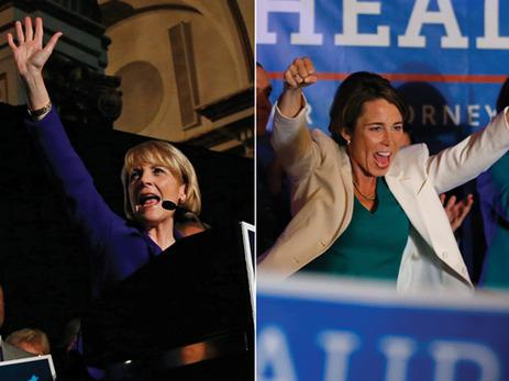 Martha Coakley, left, and Maura Healey celebrate their primary victories.