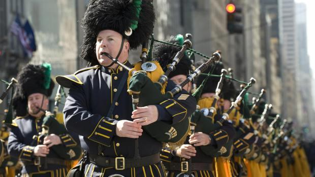 A band marches down Fifth Ave. during the St. Patrick's Day parade March 17, 2009 in New York.