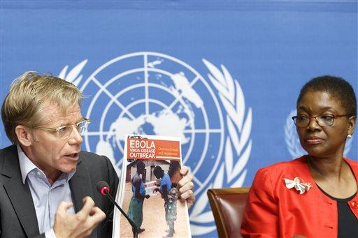 Bruce Aylward, left, Assistant Director-General of the World Health Organization, WHO, is sitting next to British Valerie Amos, right, United Nations Under-Secretary-General for Humanitarian Affairs and Emergency Relief Coordinator.
