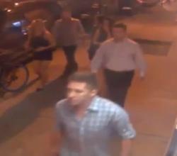 Surveillance camera still of part of the preppy hate gang