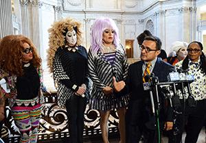 Supervisor David Campos speaks Wednesday afternoon about meeting with Facebook representatives and their requirement that users only have accounts with their real names. He is backed by members of San Francisco's drag and transgender communities, including, from left, Little Miss Hot Mess, Sister Roma, Heklina, and Carmen Morrison, who also participated in the meeting