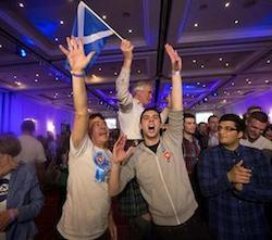 Supporters of the No campaign for the Scottish independence referendum celebrate after the final result was announced at a No campaign event at a hotel in Glasgow, Scotland, Friday, Sept. 19, 2014.