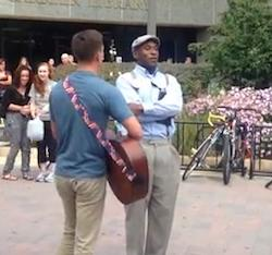 Anti-gay preacher gets dressed down by a hymn.