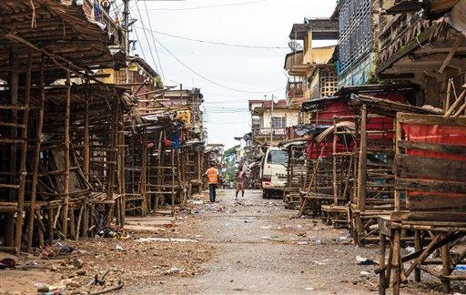 Empty streets are seen during a three-day lockdown to prevent the spread on the Ebola virus, in Freetown, Sierra Leone.