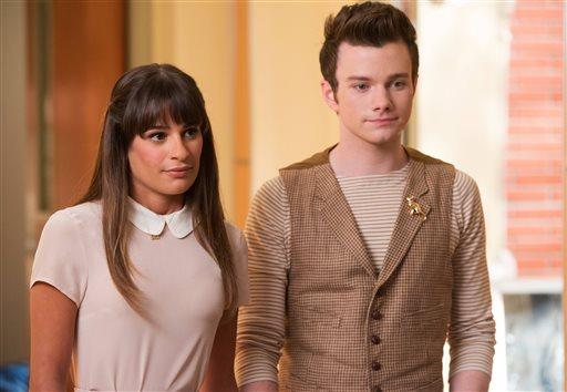 "Lea Michele, left, and Chris Colfer, in a scene from ""Glee."""