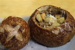 Bistro French Onion Soup Bread Bowl at a Panera bread restaurant in New York.