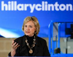 In this Dec. 4, 2015, photo, Democratic presidential candidate Hillary Clinton speaks during a campaign stop in Sioux City, Iowa.