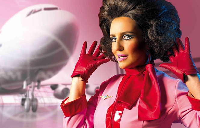 Take off with her: Pam Ann, stewardess with snark, crash-lands at Feinstein's