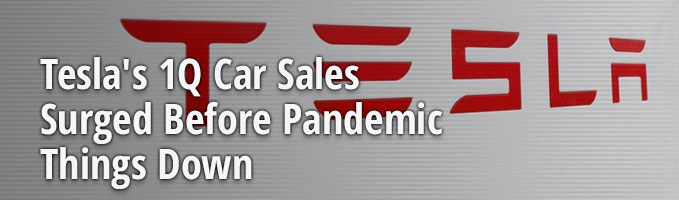 Tesla's 1Q Car Sales Surged Before Pandemic Shut Things Down