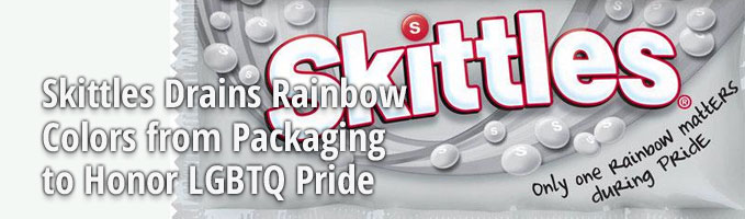 Skittles Drains Rainbow Colors from Packaging to Honor LGBTQ Pride