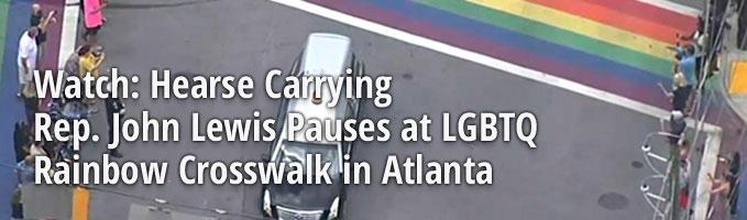 Watch: Hearse Carrying Rep. John Lewis Pauses at LGBTQ Rainbow Crosswalk in Atlanta