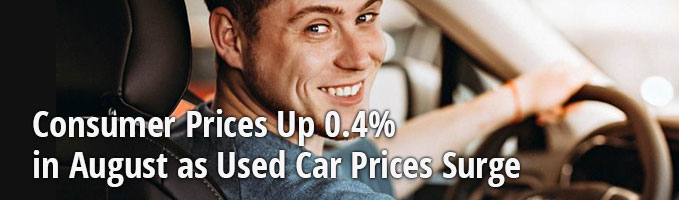 Consumer Prices Up 0.4% in August as Used Car Prices Surge