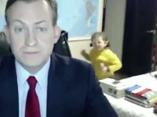 Watch: BBC Interviewee's Kids Bombard Him on Live TV