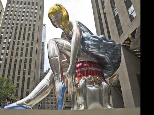 Jeff Koons Inflatable Ballerina Sculpture Unveiled in NYC