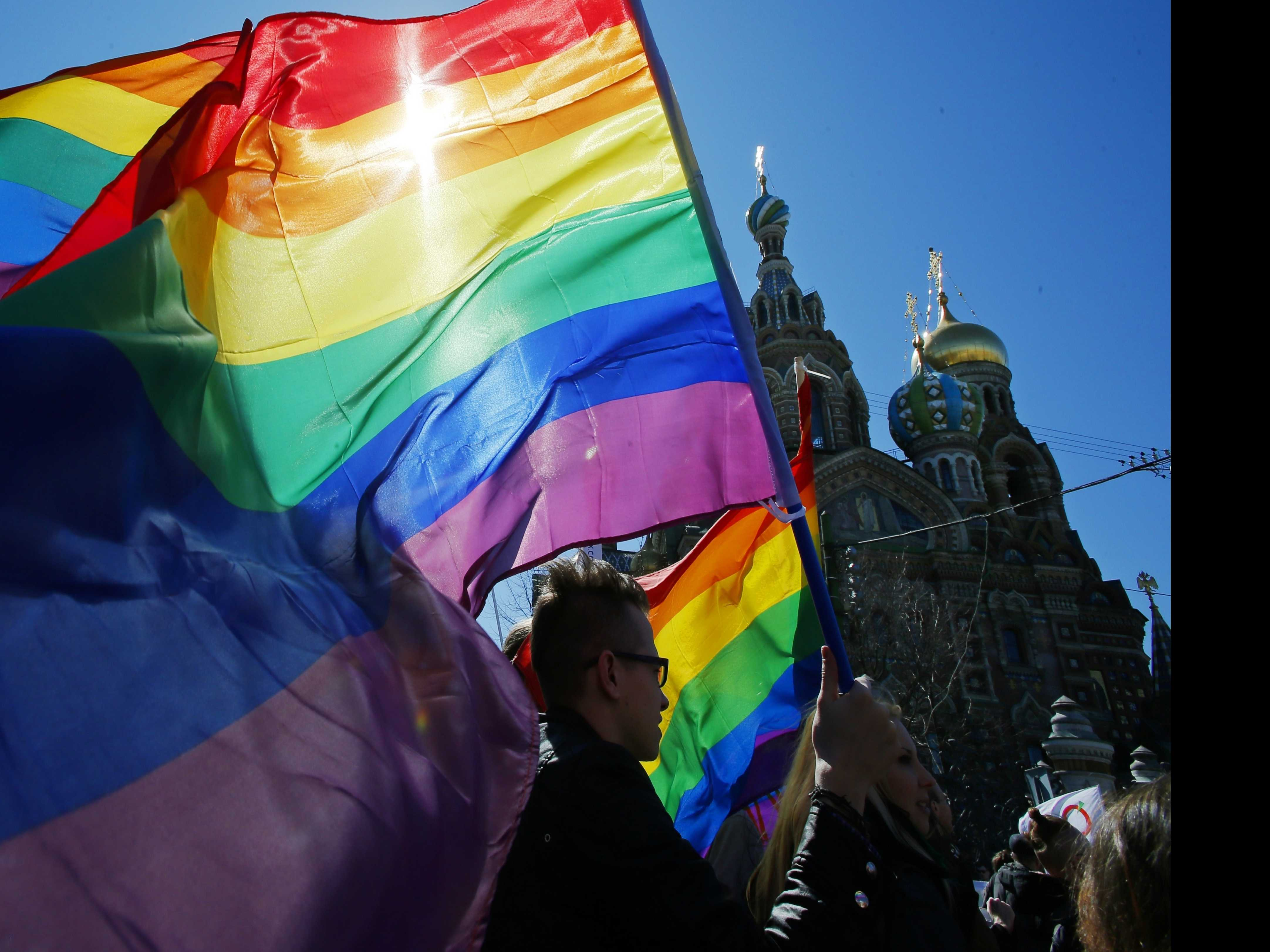 Russian Gay Rights Supporters Demonstrate in St. Petersburg