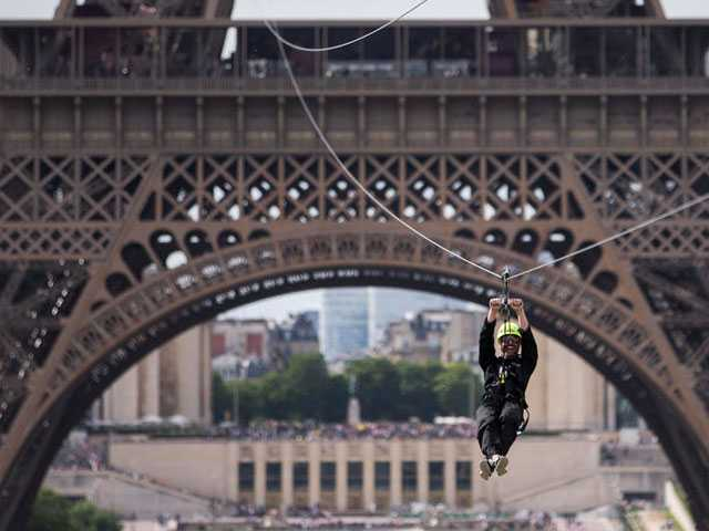 Zip-Lining Off the Eiffel Tower