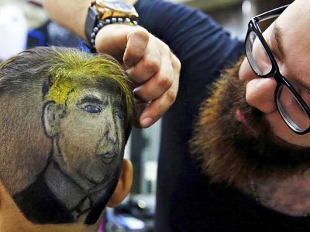 Syrian Barber Creates Portraits on Clients' Heads