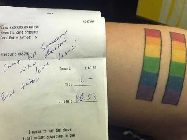 Customer Refuses to Tip Lesbian Server for 'Not Loving Jesus'